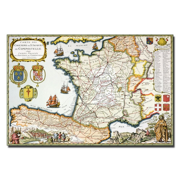 D. Serveaux 'Map of Routes of St. James, 1648' Canvas Art