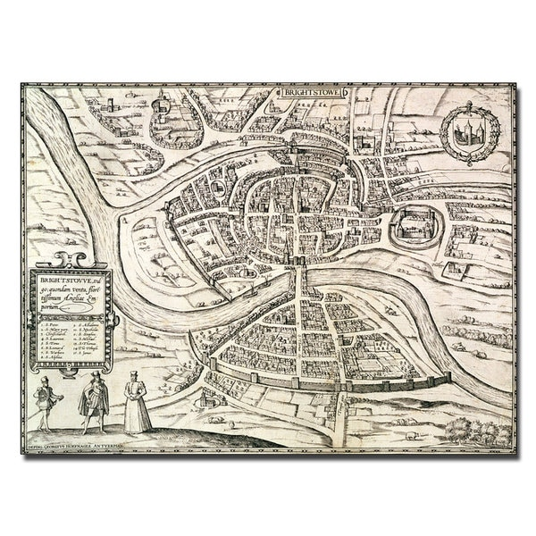 Braun, Hogenberg 'Map of Bristol, 1581' Canvas Art