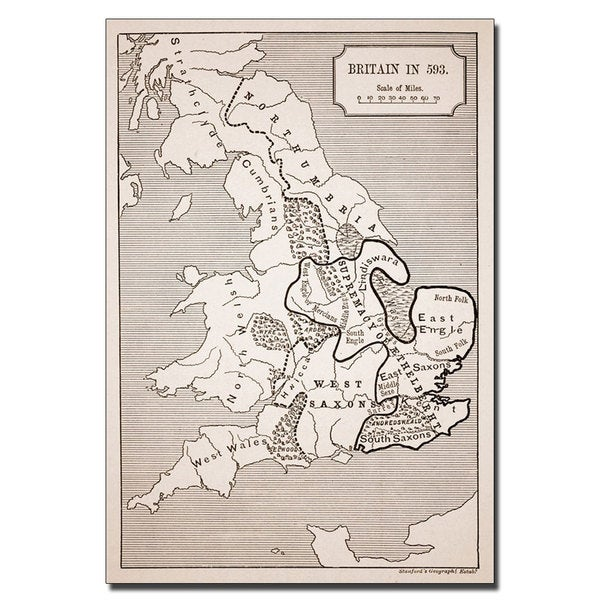 'Map of Britain in 593' Canvas Art