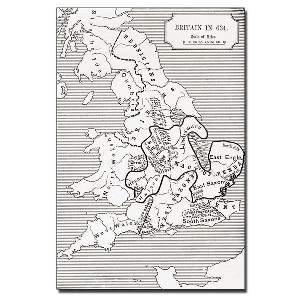 'Map of Britain in 634' Canvas Art