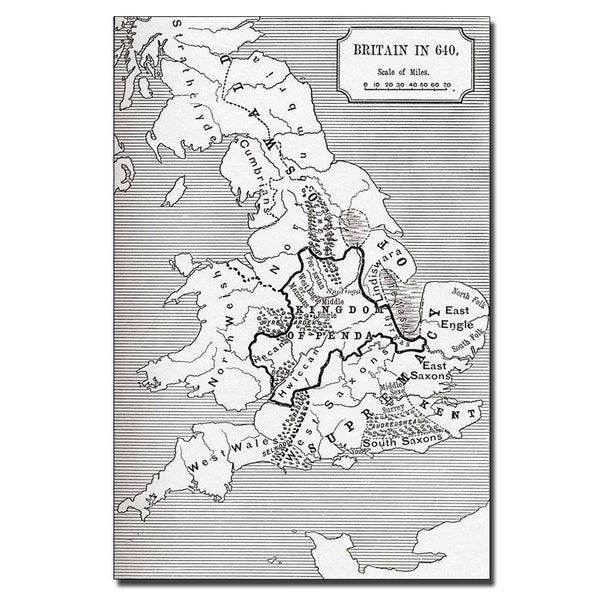 'Map of Britain in 640' Vertical Canvas Art