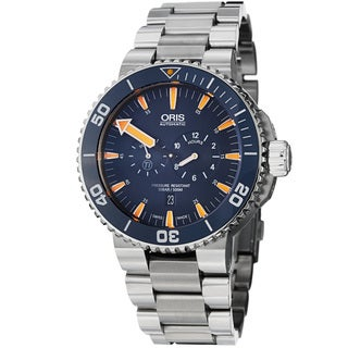 Oris Men's 'Aquis' Blue Dial Chronograph Automatic Titanium Watch