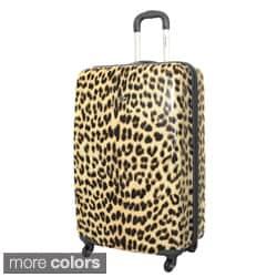 Rockland Designer Leopard 24-inch Lightweight Hardside Spinner Upright Suitcase