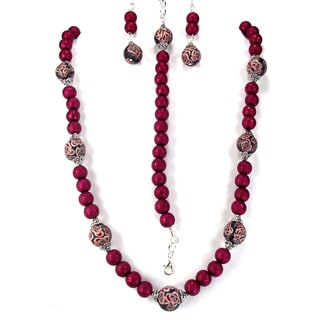 Silverplated Garnet Bumpy Glass Pearls and Fimo Bead Jewelry Set