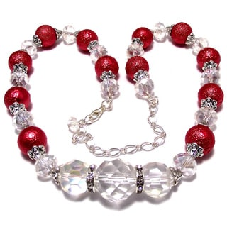 Silverplated Carnation Red Bumpy Glass Pearl and Crystal Jewelry Set
