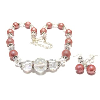 Silverplated Rose Bumpy Glass Pearl and Crystal Jewelry Set