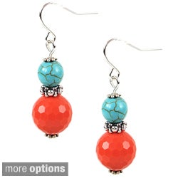 Pretty Little Style Tibetan Silver Turquoise Agate Drop Earrings