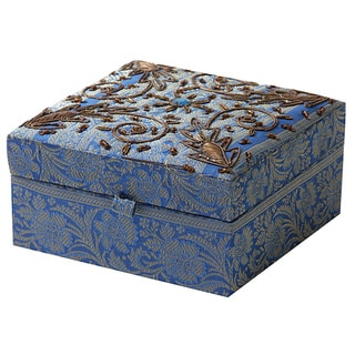 Handmade Fabric Jewelry Box with Gold Trim (India)