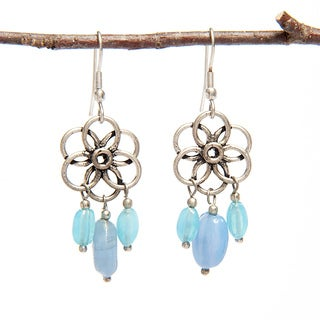 Handmade Flower and Blue Glass Bead Earrings (India)
