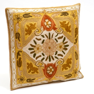 Kashmiri Floral Chain-Stitched Cushion Cover (India)