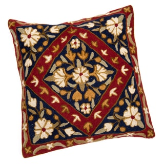 Kashmiri Blue and Red Floral Cushion Cover (India)