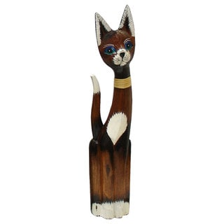 Rattan Bow Tie Cat Figurine (Indonesia)