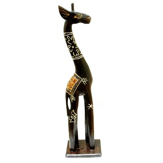 Handcrafted Eggshell\ Gold 24-inch Giraffe Figurine, Handmade in Indonesia