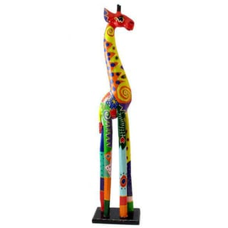 Hand-Carved Multi-Colored Giraffe Statue (Indonesia)