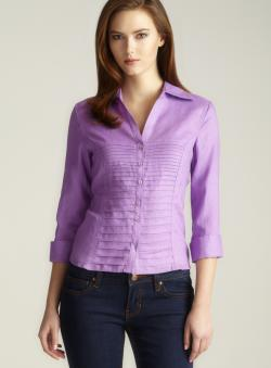 Tracy M Petite Linen 3/4-sleeve Pleated Top