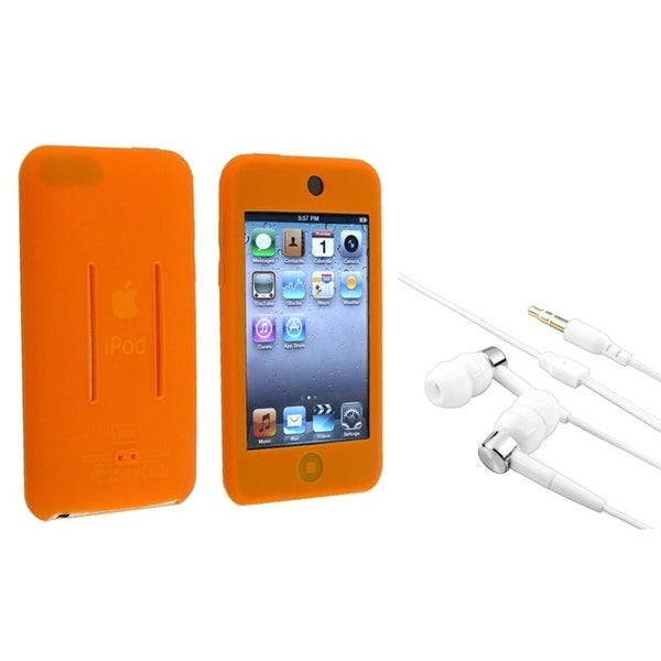 INSTEN Orange iPod Case Cover/ White Headset for Apple iPod Touch 1/ 2/ 3