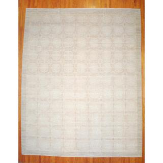 Afghan Hand-knotted Vegetable Dye Beige/ Light Brown Wool/Silk Rug (13' x 16')