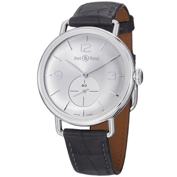 Bell & Ross Men's BRWW1-ARGENTIUM 'Vintage' Silver Dial Grey Leather Strap Watch