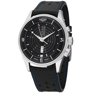 Vulcain Men's 100107.024VT 'Nautical Trophy' Black Dial Black Leather Strap Watch