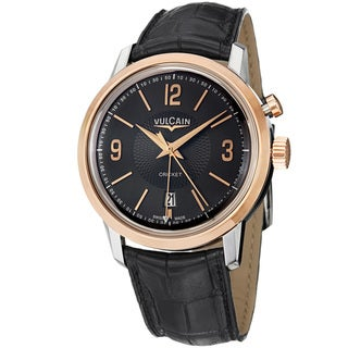 Vulcain Men's 110651.287L '50Presidents' Black Dial Black Leather Strap Watch