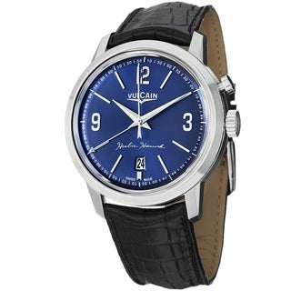 Vulcain Men's 160151.301L '50Presidents' Blue Dial Black Leather Strap Watch