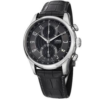 Oris Men's 'Raid Limited' Grey Dial Black Leather Strap Watch