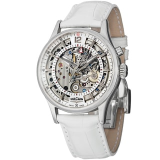 Vulcain Men's 'Golden Heart' Skeleton Dial White Leather Strap Watch