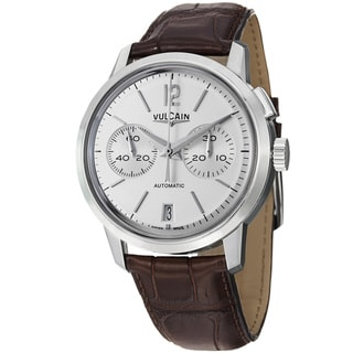 Vulcain Men's 570157.309LF '50 Presidents' Silver Dial Brown Leather Strap Watch