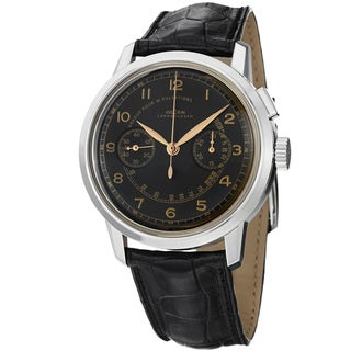 Vulcain Men's 570157.315L '50 Presidents Limited' Black Dial Leather Strap Watch