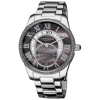 Akribos XXIV Men's Black Mother of Pearl Crystal Stainless-Steel Bracelet Watch