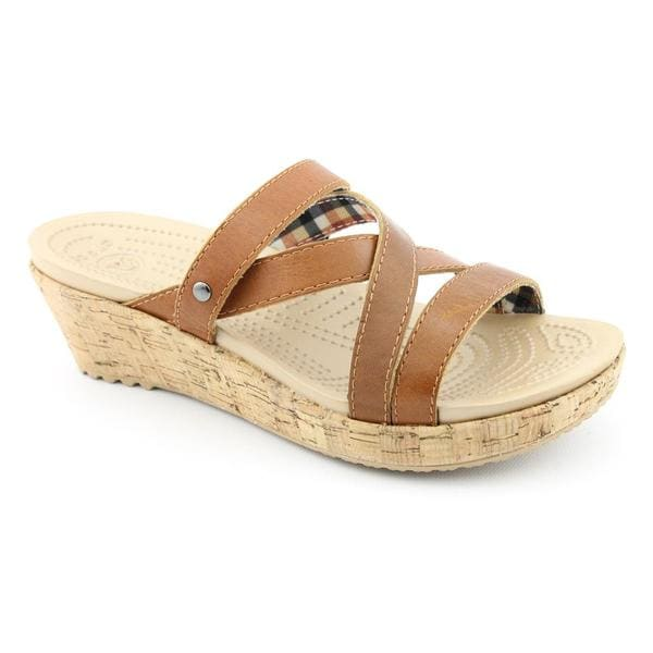 Crocs Women's 'A-Leigh Mini Wedge Leather' Leather Sandals