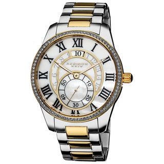 Akribos XXIV Men's Mother of Pearl Crystal Stainless Steel Bracelet Watch