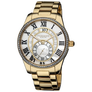 Akribos XXIV Men's Mother of Pearl Crystal Gold-Tone Stainless-Steel Bracelet Watch