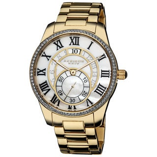 Akribos XXIV Men's Mother of Pearl Crystal Gold-Tone Stainless Steel Bracelet Watch