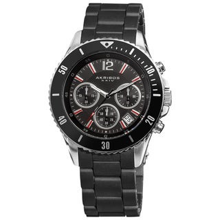 Akribos XXIV Men's Black Chronograph Polyurethane Bracelet Divers Watch