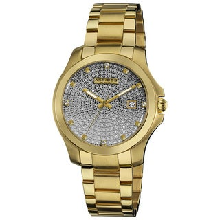 Akribos XXIV Men's Goldtone Stainless Steel Crystal Pave Bracelet Watch
