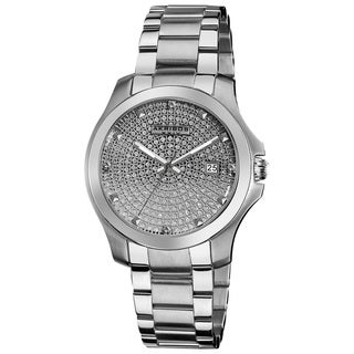 Akribos XXIV Women's Stainless Steel Crystal Pave Quartz Bracelet Watch