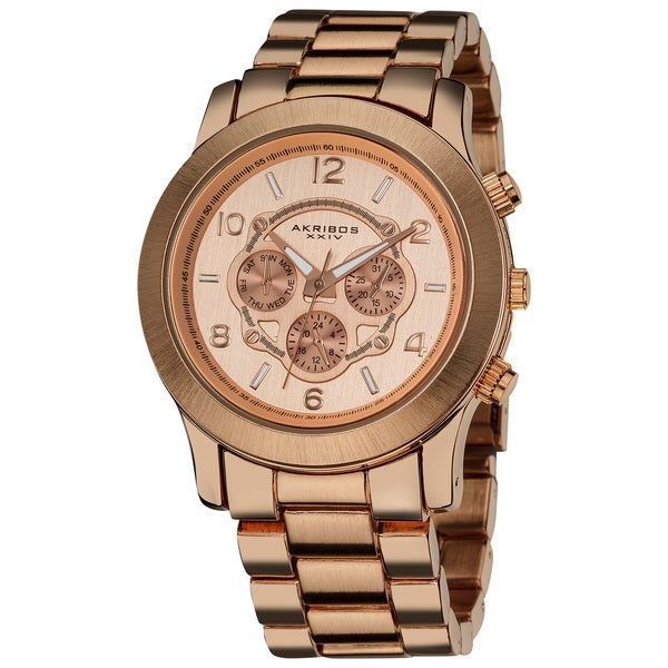 Akribos XXIV Women's Quartz Multifunction Rose-Tone Case Fashion Bracelet Watch 10963873