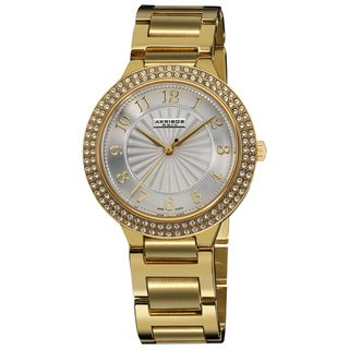 Akribos XXIV Women's Swiss Quartz Goldtone Swarovski Crystal Stainless Steel Bracelet Watch