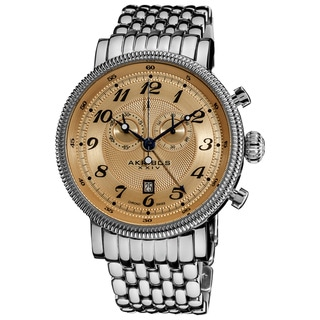 Akribos XXIV Men's Swiss Collection Silvertone Stainless-Steel Bracelet Chronograph Watch