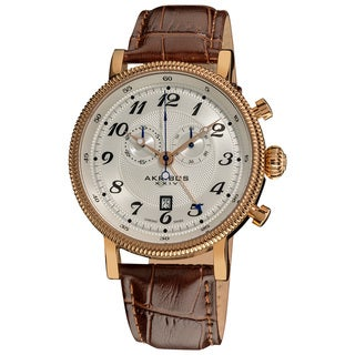 Akribos XXIV Men's Swiss Collection Brown-Leather-Strap Chronograph Watch