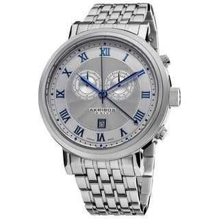 Akribos XXIV Men's Stainless Steel Swiss Collection Chronograph Watch with Blue Hands