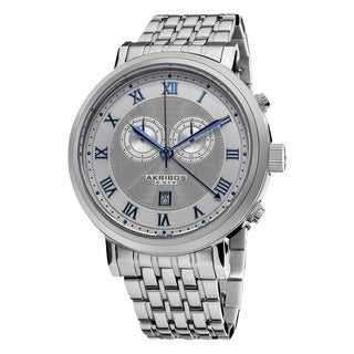 Akribos XXIV Men's Stainless Steel Swiss Collection Chronograph Silver-Tone Watch with Blue Hands