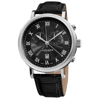 Akribos XXIV Men's Black Leather Strap Swiss Collection Chronograph Watch