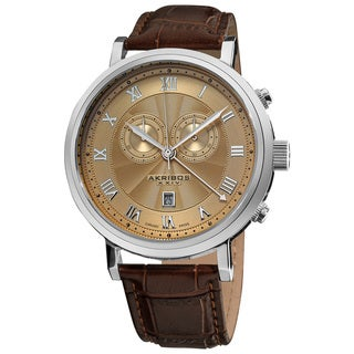 Akribos XXIV Men's Brown Leather Strap Swiss Collection Chronograph Watch with Gold Face