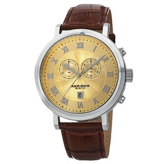Akribos XXIV Men's Leather Strap Swiss Collection Chronograph Watch