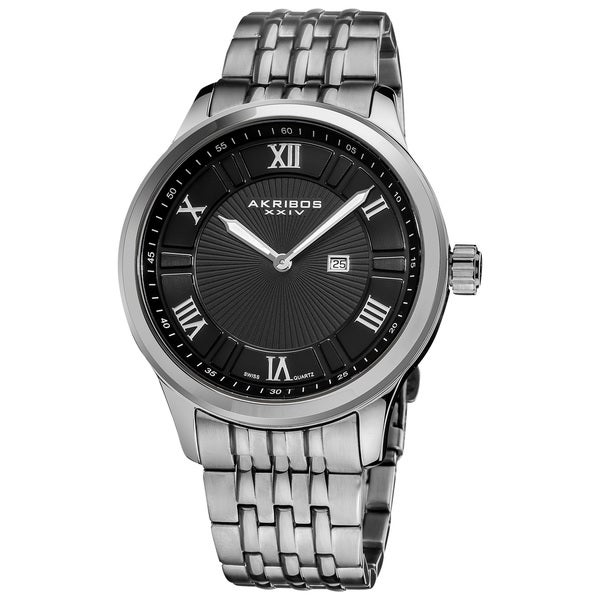Akribos XXIV Men's Swiss Collection Date Stainless Steel Bracelet Watch with Black Dial