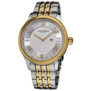 Akribos XXIV Men's Swiss Collection Date Stainless-Steel Bracelet Watch with Goldtone Accents