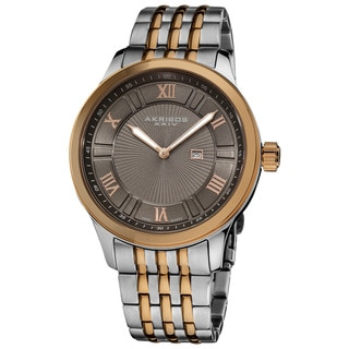 Akribos XXIV Men's Swiss Collection Date Stainless-Steel Bracelet Watch with Brown Dial