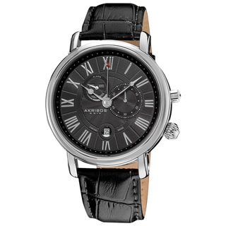 Akribos XXIV Men's Swiss Collection Multifunction Water-Resistant Watch with Black Leather Strap